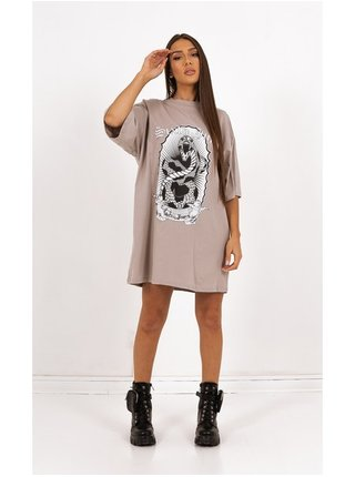 Starorůžové dámské šaty PRINT SNAKE DRESS TSHIRT OVER.