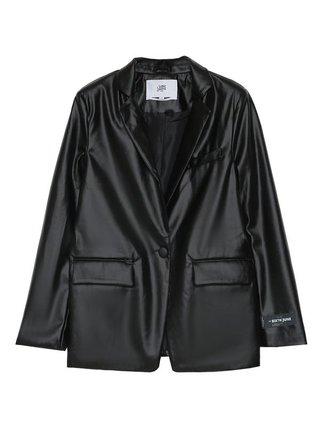 Černé dámské koženkové sako  BLACK JAKET LEATHER FAUX JUNE SIXTH