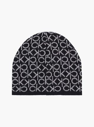 Bílo-černá dámská vzorovaná čepice Calvin Klein