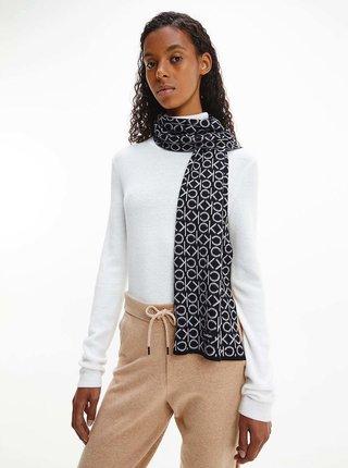 Bílo-černý vzorovaný šátek Calvin Klein