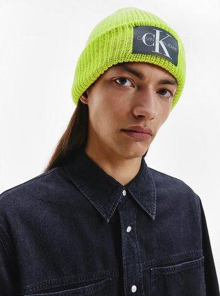 Neonově zelená pánská vlněná čepice Calvin Klein