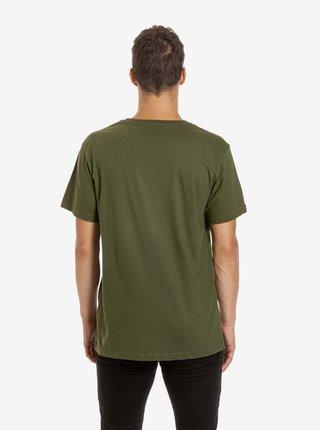 Kaki pánske tričko s potlačou Meatfly Press