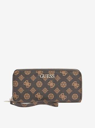 Tmavě hnědá dámská vzorovaná peněženka Guess