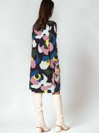Růžovo-černé volné vzorované šaty SKFK