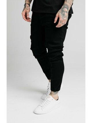 Černé pánské džínové kalhoty  DENIM PLEATED CUFF ELASTICATED