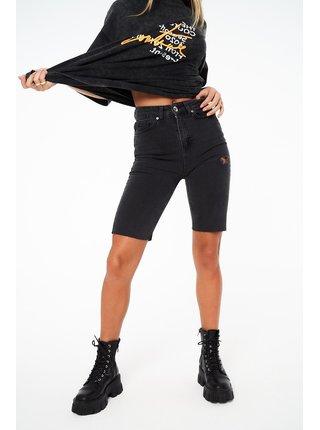 Černé dámské džínové kraťasy  SHORTS CYCLING DENIM HEM RAW