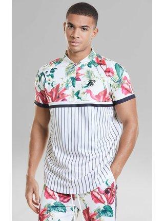 Bílé pánské květované tričko  TEE BASEBALL TROPICS RETRO S/S