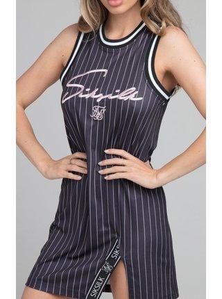 Černé dámské pruhované šaty  DRESS SLIT STRIPE BASEBALL