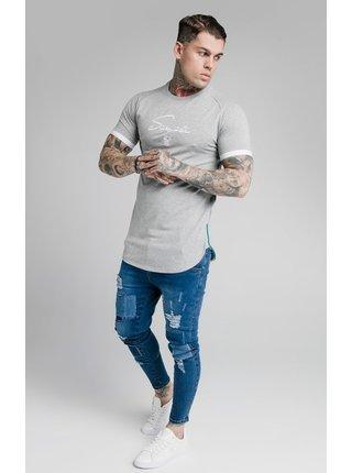 Světle šedé pánské tričko  TEE TECH PIPING FADE S/S