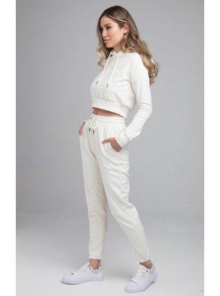 Bílá dámská crop top mikina  HOODIE OVERHEAD HALF HALF