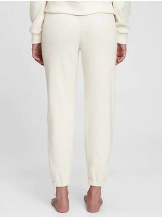 Smetanové dámské pyžamové kalhoty cozy rib joggers GAP