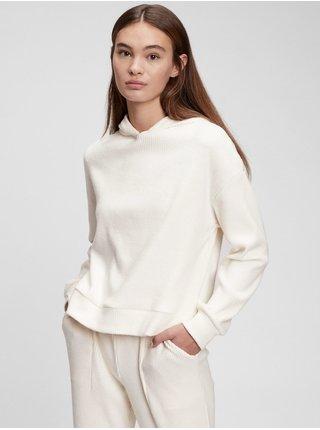 Bílé dámské pyžamo vý top cozy rib hoodie GAP
