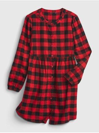Červené holčičí šaty šaty buff plaid shirt GAP