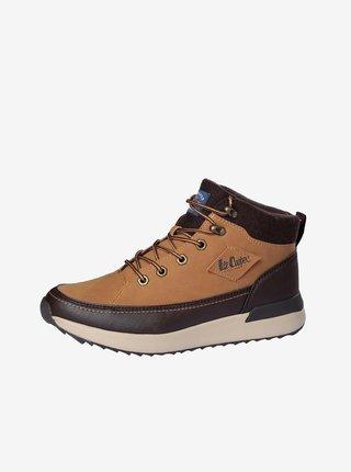 Hnedé pánske zimné členkové topánky Lee Cooper