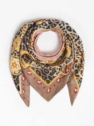 Černo-růžový dámský vzorovaný šátek Guess