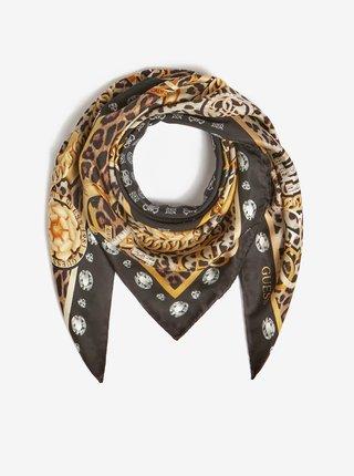 Zlato-černý dámský vzorovaný šátek Guess