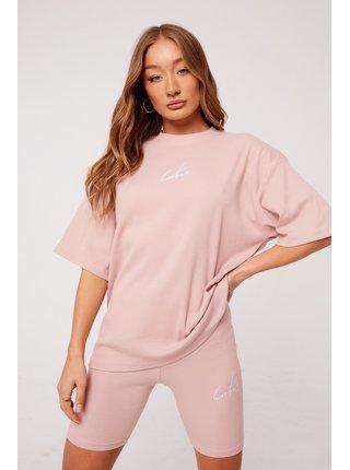 Růžové dámské tričko  TOP TWINSET RIBBED SIGNATURE REVERSE