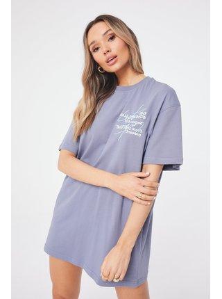 Světle fialové dámské šaty  DRESS T-SHIRT SEASON SIGNATURE DOUBLE
