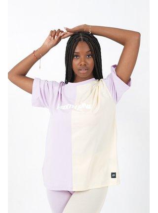 Fialovo-krémové dámské tričko TEE OVERSIZE COLORBLOCK