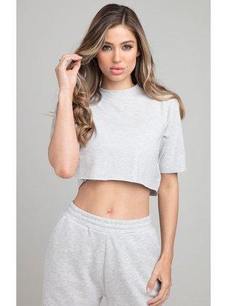Světle šedé dámské crop top tričko EE CROPPED