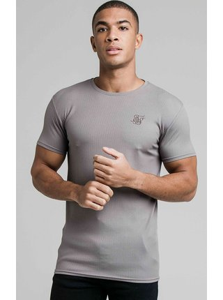 Šedé pánské tričko  TEE GYM KNIT RIB FINE S/S
