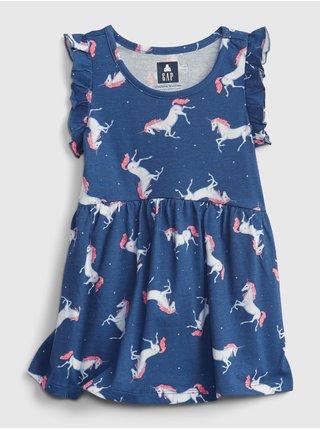 Modrý holčičí top sleevles print tunic GAP