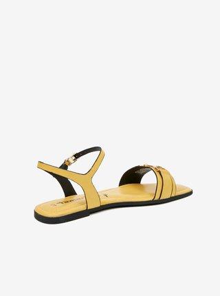 Zelenožlté kožené sandále Tamaris
