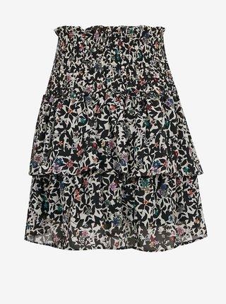 Béžovo-černá květovaná sukně ONLY Melina