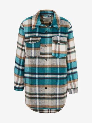 Zeleno-béžový kostkovaná košilová bunda ONLY Deena
