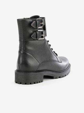 Černé dámské kožené kotníkové boty Geox Hoara