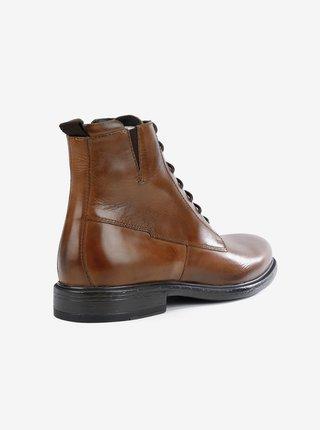 Hnědé pánské kožené kotníkové boty Geox Terence