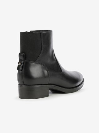 Černé dámské kožené kotníkové boty Geox Felicity