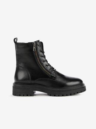 Černé dámské kožené kotníkové boty Geox Iridea
