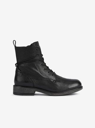 Černé dámské kožené kotníkové boty Geox  Catria