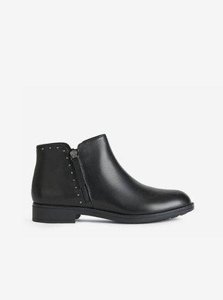 Černé dámské kožené kotníkové boty se zdobením Geox Jaylon 2