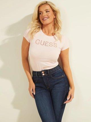 Tričká s krátkym rukávom pre ženy Guess - svetloružová