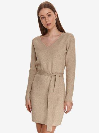 Béžové dámské šaty se zavazováním v pase TOP SECRET