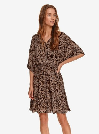 Černo-hnědé dámské šaty se zvířecím vzorem TOP SECRET