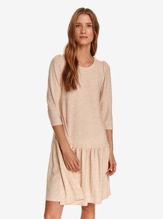 Béžové dámské šaty s volánem TOP SECRET