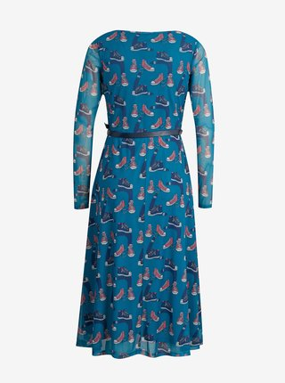 Modré dámske vzorované midišaty Culito from Spain Jesenia