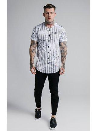 Bílá pánská pruhovaná košile JERSEY BASEBALL STRIPE MARBLE