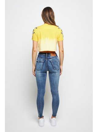 Žluté dámské crop top tričko TEE CROP EMBROIDERED FLORAL