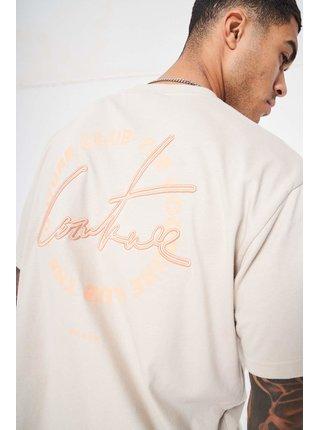 Béžové pánské tričko  T-SHIRT PRINT CIRCLE SIGNATURE COUTURE