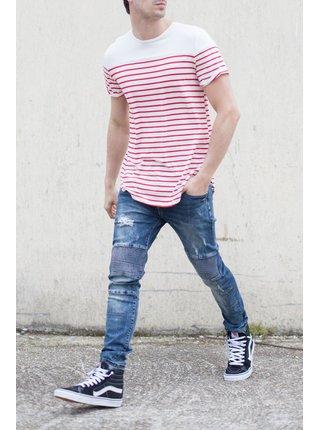 Červeno-bílé pánské tričko Oversized Stripes June Sixth