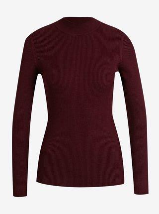Vínový rebrovaný sveter Jacqueline de Yong New Maryan