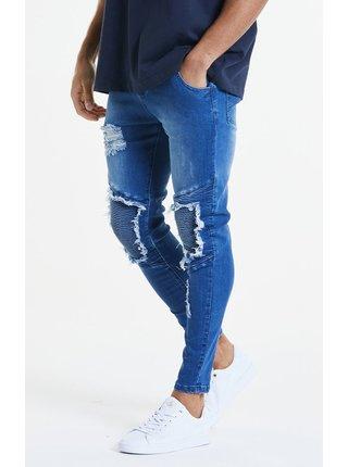 Modré pánské skinny fit džíny  DENIMS BIKER HEM RAW