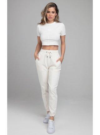 Bílé dámské crop top tričko  TEE CROP HALF HALF