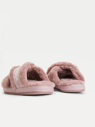 Růžové dámské domácí pantofle s umělým kožíškem Tommy Hilfiger