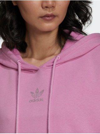 Mikinové a svetrové šaty pre ženy adidas Originals - ružová