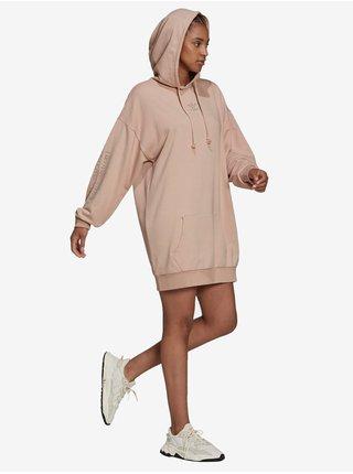 Mikinové a svetrové šaty pre ženy adidas Originals - hnedá, béžová